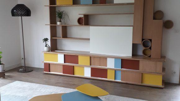 Décoration d'un espace de vie, conception de meubles sur mesure