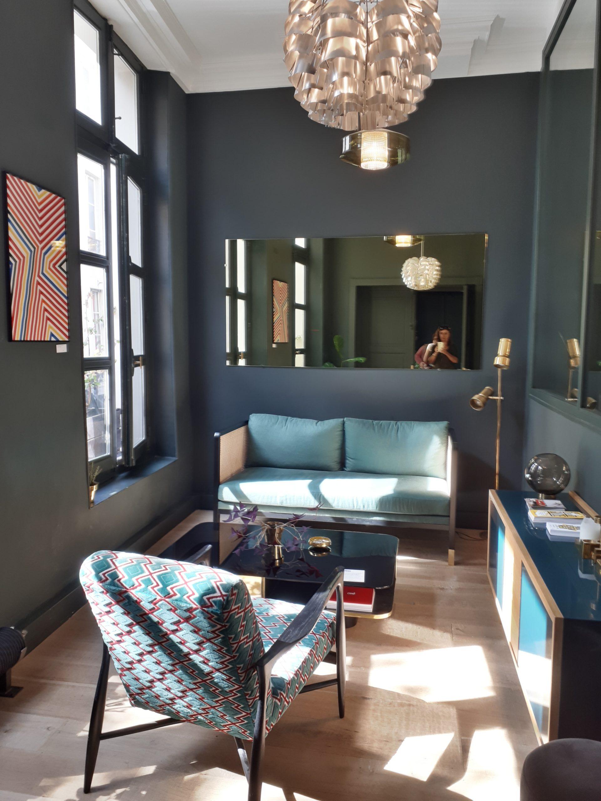 salon décoration couleur bleu et gris