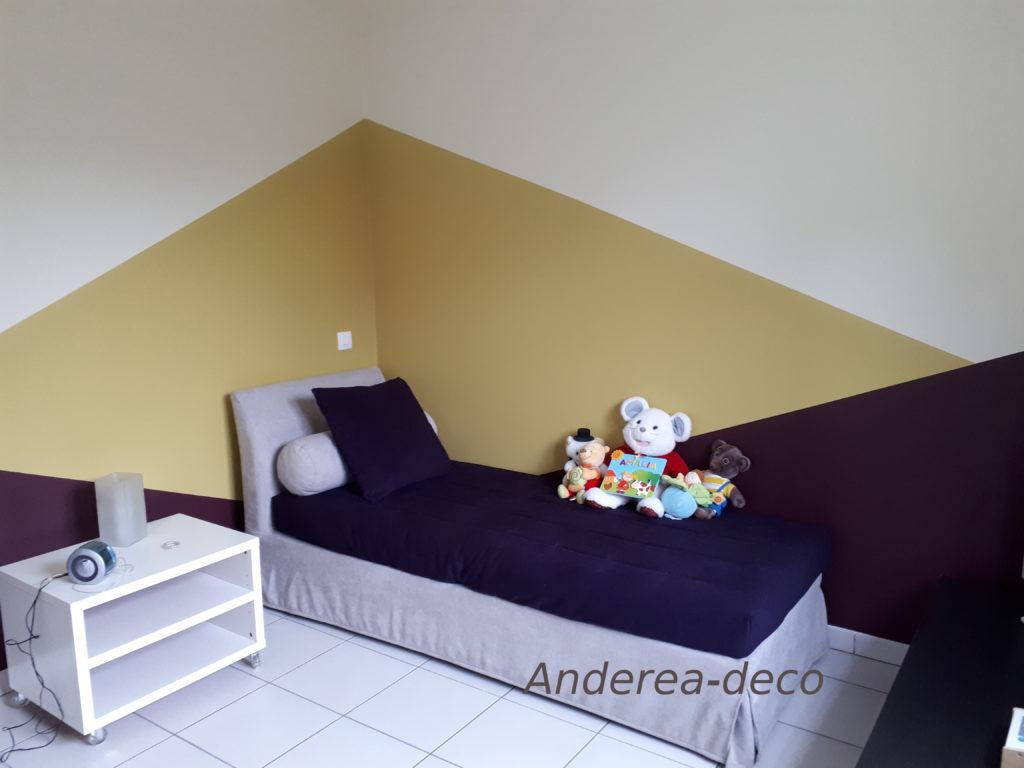 chambre enfant teinte bleu pourpre beige