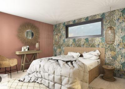 vue 3D décoration intérieure photo réalisme osier papier peint casamance