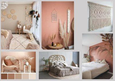 Planche tendance terra cota, chambre , osier, décoration intérieure